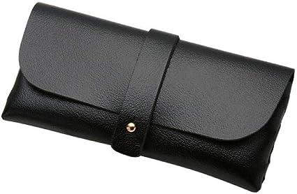 Estuches Black Portable Soft Leather Pencil Pen Case Men Women Glasses Case Fold-able Student Glasses Box School Office Stationary: Amazon.es: Oficina y papelería