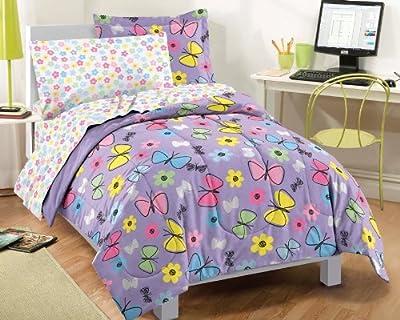 Sweet Butterfly Ultra Soft Microfiber Comforter Bedding Set, Purple Multi