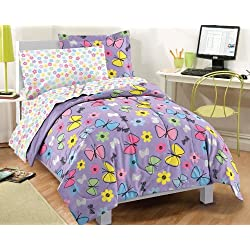 Dream Factory Sweet Butterfly Ultra Soft Microfiber Girls Comforter Set, Purple, Twin