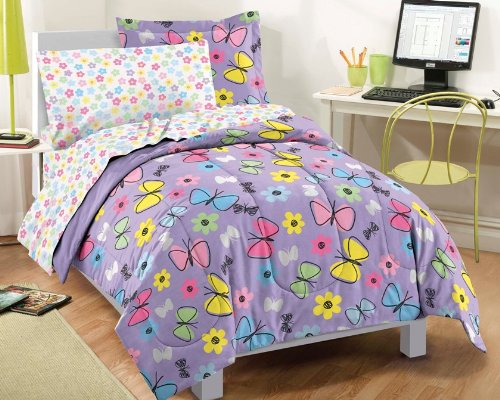 Butterfly Bed In A Bag - Dream Factory Sweet Butterfly Ultra Soft Microfiber Girls Comforter Set, Purple, Twin