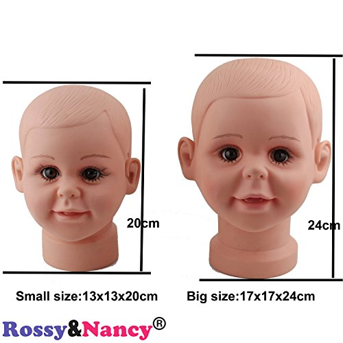 Rossy&Nancy Small Baby Girl Children Mannequin Manikin Head for Wig Hats Display Show Stand Model -