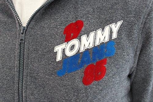 TOMMY JEANS Langarm Sweatjacke Kapuze meliert Schrift-Print dunkelblau