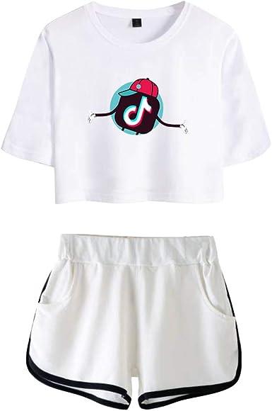 TIK TOK Camiseta y Pantalones Cortos Set Crop Top T-Shirt + Short 2 Piezas Verano Conjunto Deportivo para Niñas y Mujer: Amazon.es: Ropa y accesorios
