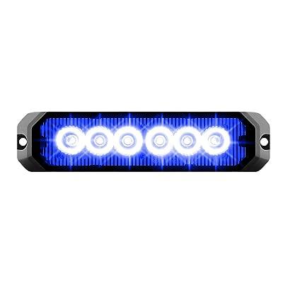 "GG Grand General 81815 Blue/Blue LED Strobe Light (5"" Rectangle 6, 14 Modes, 9~36V): Automotive"