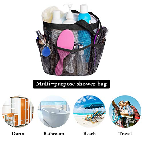 Attmu Mesh Shower Caddy, Quick Dry Shower Tote Bag Oxford Hanging Toiletry and Bath Organizer for Shampoo, Conditioner, Soap and Other Bathroom Accessories, Black, A-Black