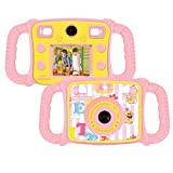 """Drograce KD300 Kids Camera Dual Selfie Camera 1080P HD Video Recorder Digital Action Camera Camcorder for Boys Girls Gifts 2.0"""" LCD Screen with 4X Digital Zoom and Funny Game(Pink)"""