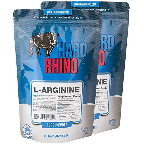 Hard Rhino L-Arginine Powder, 1 Kilogram (2.2 Lbs), Unflavored, Lab-Tested, Scoop Included