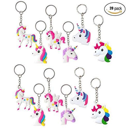 Fineder 20 PCS Unicorn Keychains, Key Ring Decoration Birthday Unicorn Party Favors (Girly Party Decorations)