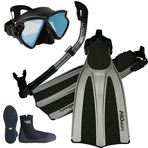 Promate Color Correction Mask Snorkel Boots Fins Gear Set, Red Lens w Bk/Ti, Mens 9 / Womens 10 (Best Affordable Snorkel Set)