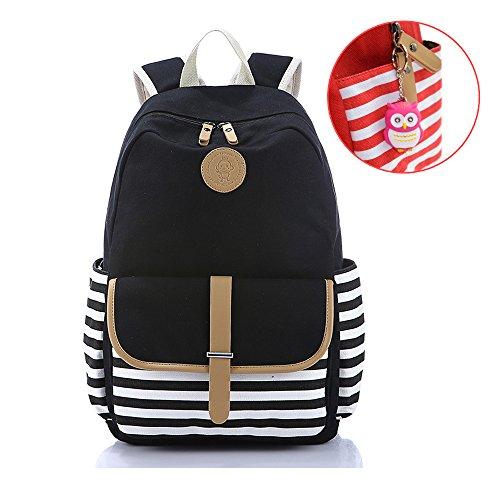 College Shoulder Backpacks Student School Book Bag Canvas Laptop Lightweight Black
