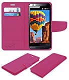 Acm Mobile Leather Flip Flap Wallet Case for Micromax Canvas Fire 3 A096 Mobile Cover Pink