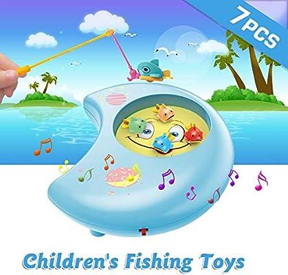 Juego Pescar Peces de Plastico Juego de Mesa Musical Juegos Educativos,Juguetes de educación temprana para niños pequeños: Amazon.es: Bebé