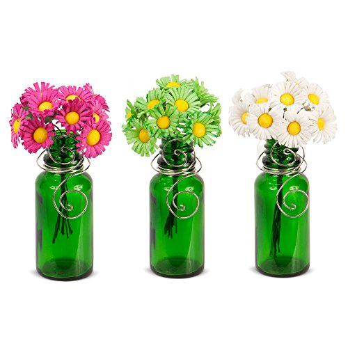 Vazzini Mini Vase Bouquet – Suction Cup Bud Bottle Holder with Flowers | Decorative for Window, Mirrors, Tile. Wedding, Party Favor, Get Well, I Love You, Birthday, Mother's Day