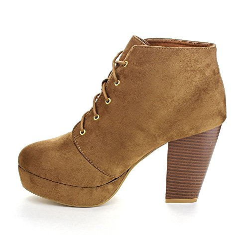 Forever Camille-86 Frauen Komfort Stapeln Chunky Heel Lace Up Ankle Booties Tan Ts