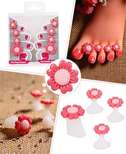 8pcs/Set Silicone Toe Separators Foot Toe Spacers for Home and Salon Use Daisy Flower Shaped Pedicures DIY Nail Art Tools (pink sun flower) ()