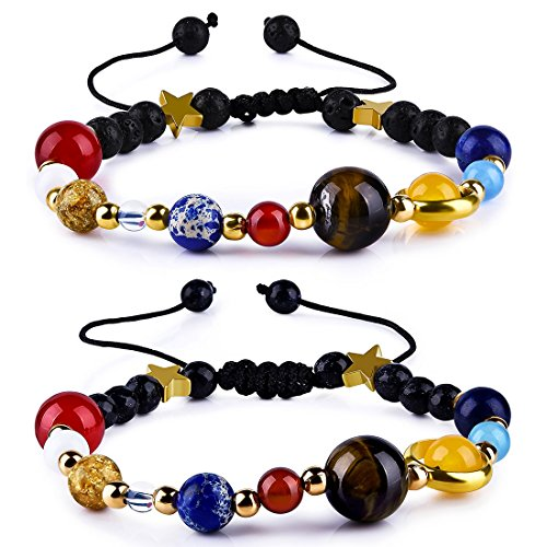 - CAT EYE JEWELS Solar System Bracelet Adjustable Handmade Universe Galaxy The Eight Planet Planets Guardian Star with Sun and Moon Natural Stone Beads Bracelets Bangles, Set of 2