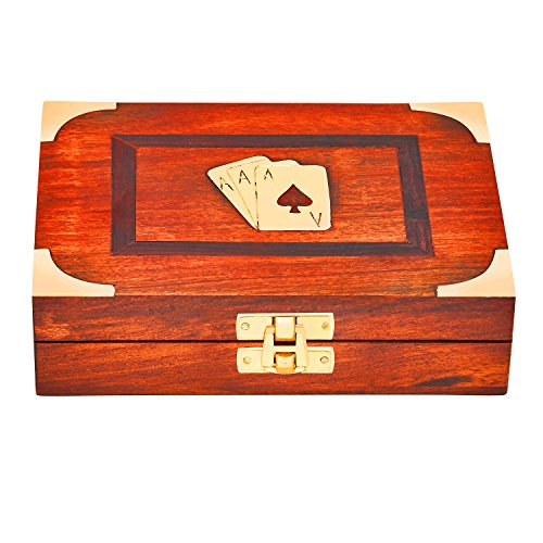 Day Playing Cards (Hand Crafted Valentines Day Gift Classic Wooden Playing Card Holder Deck Box Storage Case Organizer With 2 Sets of Premium Quality 'Ace' Playing Cards Anniversary Housewarming Gifts Him & Her)