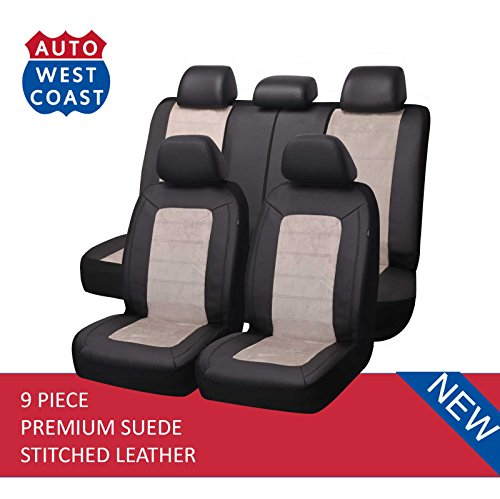 West Coast Auto Car Seat Covers Set for Auto, Truck, Van, SUV - Premium Level Leather & Suede Fabric, Airbag Compatible, Universal Fit (9 Pieces) (Beige)
