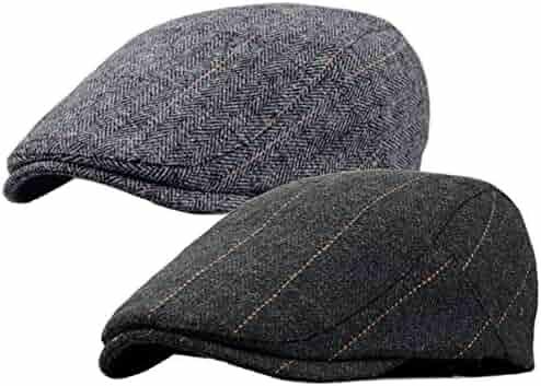 0d30f262ef8 2 Pack Men s Cotton Flat Cap Ivy Gatsby Newsboy Cabbie Caps Hunting Hat