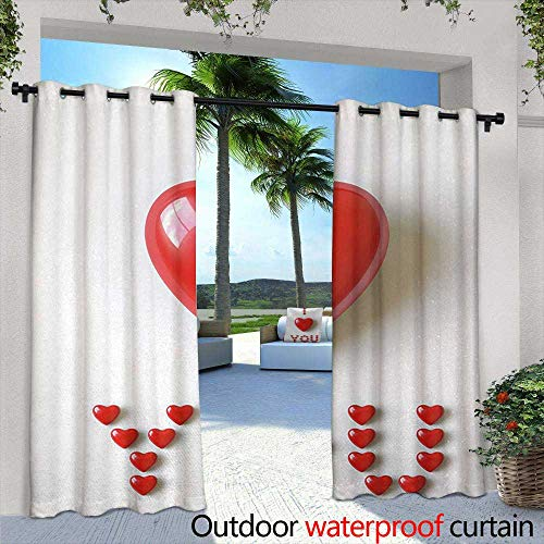 Tim1Beve Sliding Door Curtain I Love You 3D Illustration of a Heart Lays in Between Words Made with Heart Shaped Font for Patio/Front Porch 72