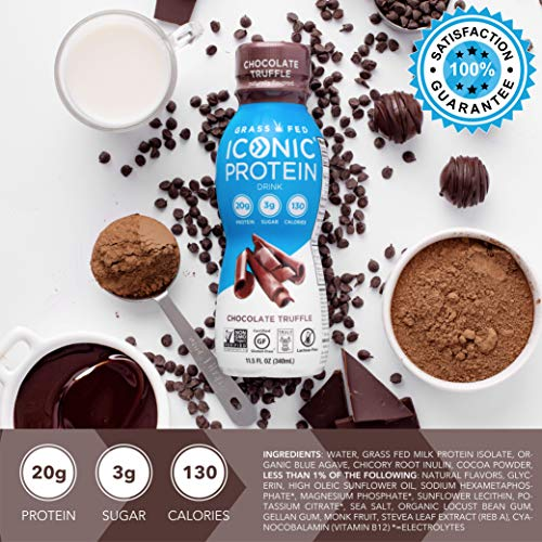 Iconic Protein Drinks, Chocolate Truffle (12 Pack) | Low Carb Protein Shakes | Grass Fed, Lactose Free, Gluten Free, Non-GMO, Kosher | High Protein Drink | Keto Friendly 3