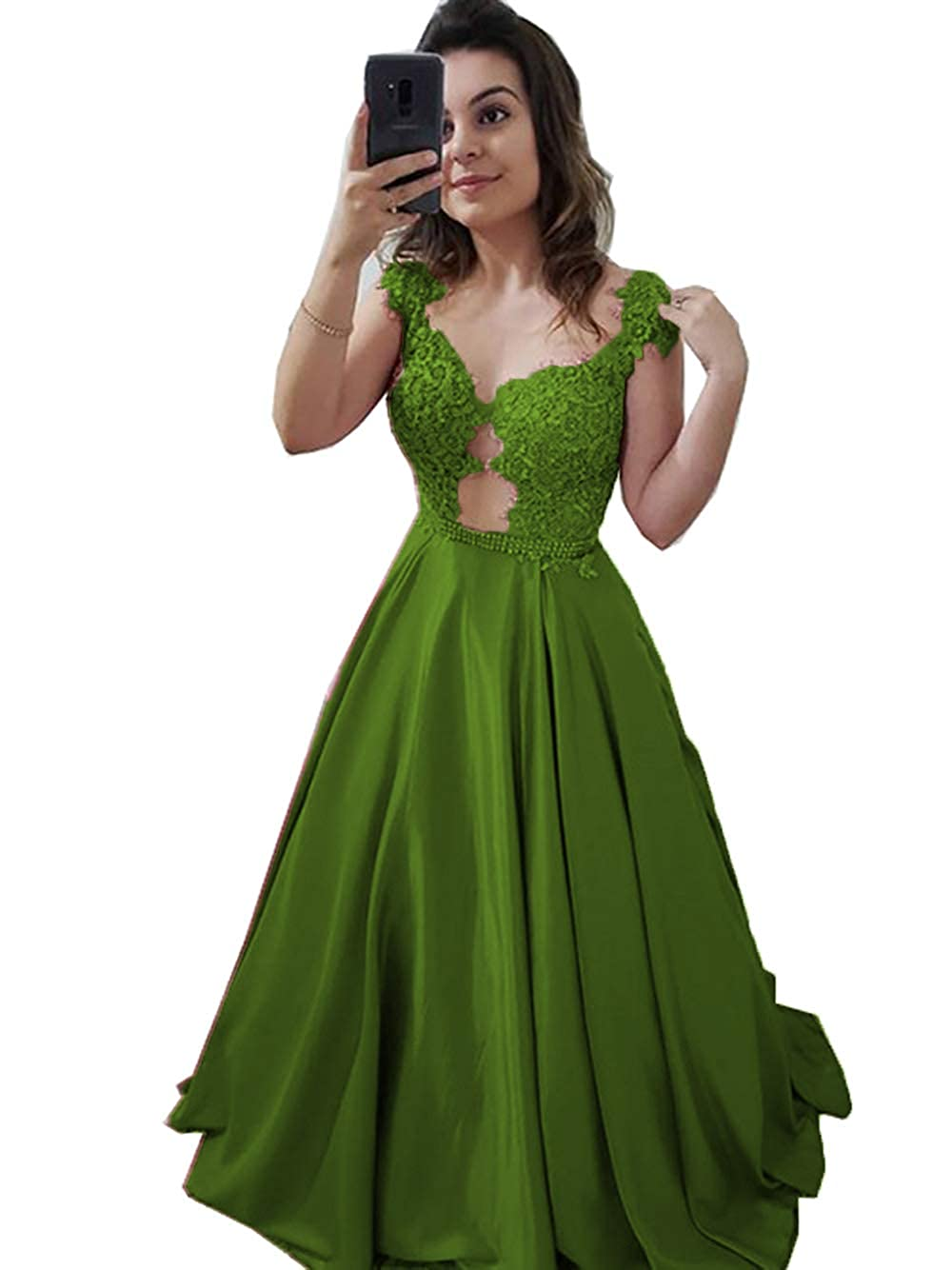 Dark Green YHFDRESS Women's Beaded Lace Applique Prom Dresses Illusion Back Evening Dresses A line Formal Dresses