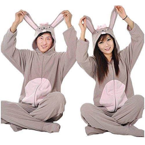 WOTOGOLD Animal Cosplay Costume Gray Rabbit With Foot Men Women Pajamas (Womens Costumes For Men)