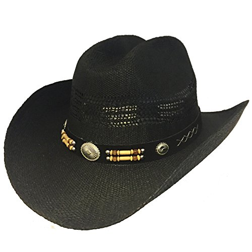 (Country Straw Wire Brim Bendable Shapeable Cowboy Hat W/ Bead Band - Black)