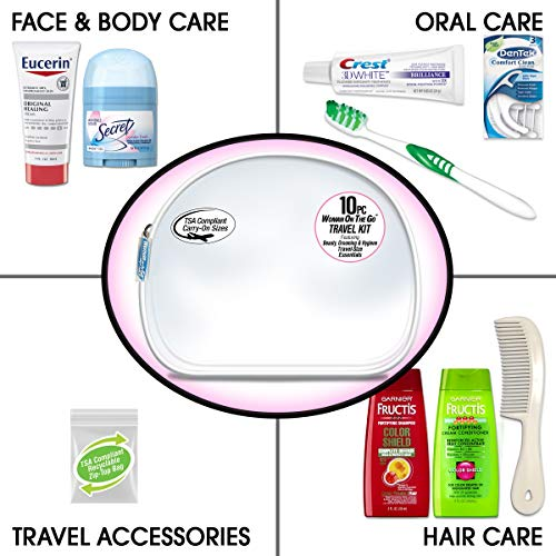 Convenience Kits International Women's Deluxe 10-Piece Kit with Travel Size TSA Complaint Essentials, Featuring: Fructis…