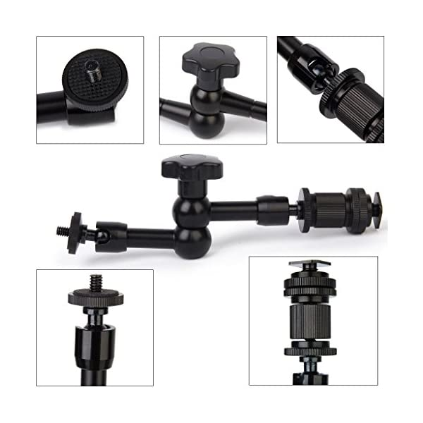 """Electomania® 7"""" Inch Adjustable Friction Articulating Magic 1/4"""" Hot Shoe Connector Arm for LCD Monitor LED Camera"""
