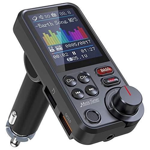"""Nulaxy Transmisor Bluetooth Coche, Micrófono Fuerte Bluetooth Coche Mechero con Pantalla a Color de 1.8"""", Carga QC3.0, Reproductor de música con Sonido de Agudos y Graves - KM30 a buen precio"""