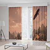 iPrint Eagle Room Decor Curtains,Nature Photography Rocky Mountains Forest a Bald Eagle Flying over It,Living Room Bedroom Curtain 2 Panels Set,157 W 84 L,Rose Green