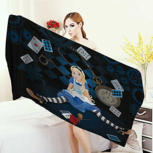 Wrap Towels Alice in Wonderland Decorations Grown Size Alice Sitting With Fying Cards And Rose Flower Striped Cartoon Quick-Dry Towels 63