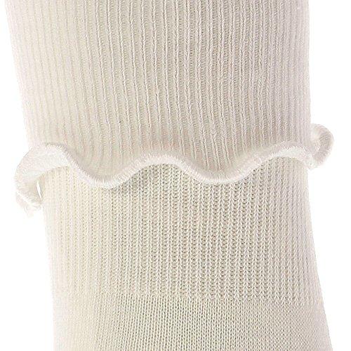 Splash of Color Cotton Bobby Socks for Girls (White, 6-7 1/2)