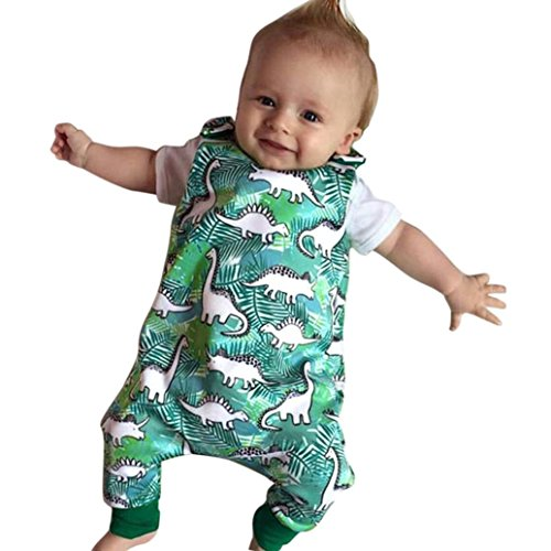 FEITONG Newborn Infant Baby Boys Girls Green Cartoon Dinosaur Print Romper Jumpsuit Outfits (Book Whale Interactive)
