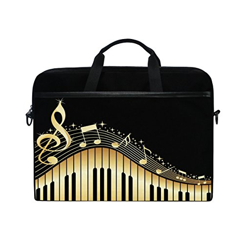 (ALAZA Golden Music Notes Piano Black 15 15.6 inch Laptop Case Shoulder Bag Crossbody Briefcase Messenger Sleeve for Women Men Girls Boys with Shoulder Strap Handle, Back to School Gifts for Her Him)