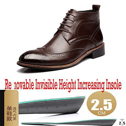 Plantilla Altura Cm Con Botas 40 Marrón Color Brogue High Hombres Oxfords 1 Tamaño Wingtip New 2 5 Tobilleras 2018 Cordones Eu Coming Creciente Zapatos