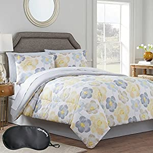 Amazon teen floral yellow grey flower bedding solid gray teen floral yellow grey flower bedding solid gray reversible twin xl comforter set 6 piece bed in a bag with sleep mask mightylinksfo