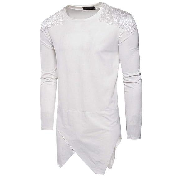 Camiseta de Mangas largas de Color sólido con Mangas para Hombre de los Hombres de Moda