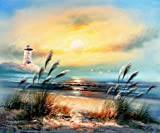 Oil Painting 'Landscape With Lighthouse,Sea Gulls And Reeds', 8 x 10 inch / 20 x 24 cm , on High Definition HD canvas prints is for Gifts And Kids Room, Kitchen And Living Room Decoration