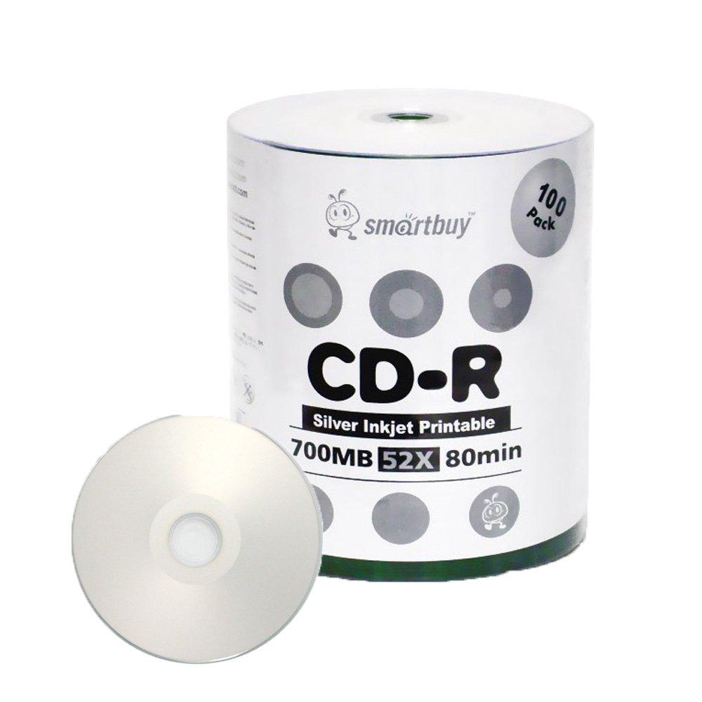 Smartbuy 700mb/80min 52x CD-R Silver Inkjet Hub Printable Blank Recordable Media Disc (100-Disc)