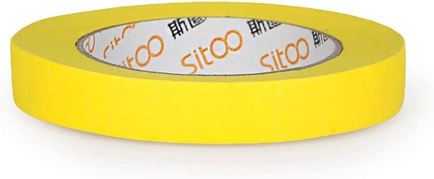 TOPHUHAI Color Masking Paper Decoration Masking Tape No Trace Paper Spray Painting Decoration Art Tape 1.8cm 50m Yellow 1 Roll