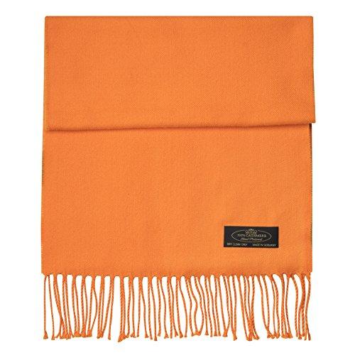 100% Cashmere Scarf Super Soft For Men And Women Warm Cozy Scarves Multiple Colors FHC Enterprize (Orange)