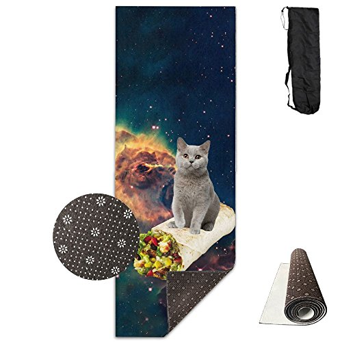 FHIEOMAT Unisex Cat And Mexican Chicken Roll Yoga And Pilates Mat Exercise Mat With Carrying Bag by FHIEOMAT