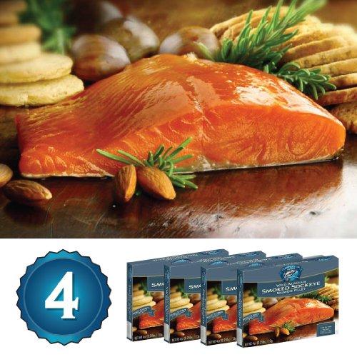 4-4oz Wild Alaska Smoked Sockeye Salmon Salmon (1lb. - River Copper Salmon