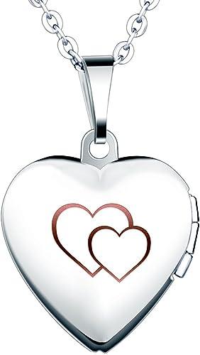 Yumilok Cadena De Acero Inoxidable Con Medallón De Corazón Que Se Abre Para Poner Una Foto Adentro En Color Plateado Con Rosa O Azul Collar Y Colgante Para Mujeres Y Chicas