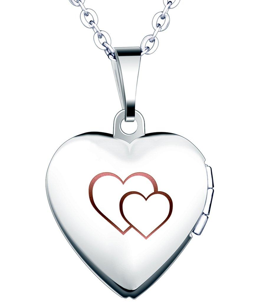 Yumilok Cadena de Acero Inoxidable con Medallón de Corazón Que Se Abre para Poner Una Foto Adentro, en Color Plateado con Rosa o Azul, Collar y Colgante para Mujeres y Chicas Yumilok Jewelry Y30100-B