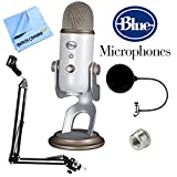 BLUE MICROPHONES Yeti USB Microphone Four Pattern Vintage White (Yeti Vintage White) + Suspension Boom Scissor Arm Stand + Pop Filter Microphone Wind Screen + Mic Stand Adapter + MicroFiber Cloth