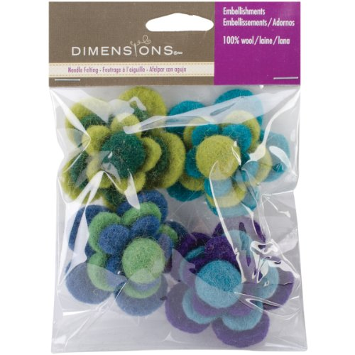 Dimensions Felt Embellishments, Layered Cool Flowers