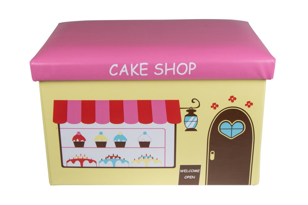 Cake Shop Collapsible Storage Organizer by Clever Creations | Storage Box Folding Storage Ottoman for Your Bedroom | Perfect Size Storage Chest for Books, Shoes & Games